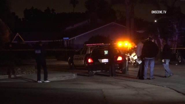 A man suffered non-life-threatening wounds when he was shot by Huntington Beach police officers in a residential area, authorities said Monday. Photo via OnScene.TV.