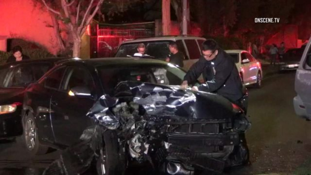 Five people were hospitalized Monday after a suspected DUI driver crashed into multiple vehicles at two nearby scenes in Winnetka. Photo via OnScene.TV.