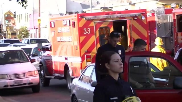 Crews on scene in South Los Angeles after a woman was shot in the face as she walked down the street, March 23, 2017. Photo: OnSceneTV