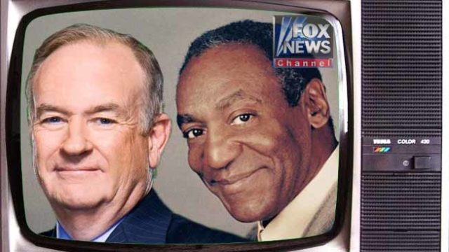 Image illustrating prank story about a new Fox News show starring Bill Cosby and Bill O'Reilly.