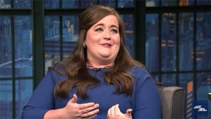"Aidy Bryant on ""Late Night with Seth Meyers."" Image via YouTube.com"