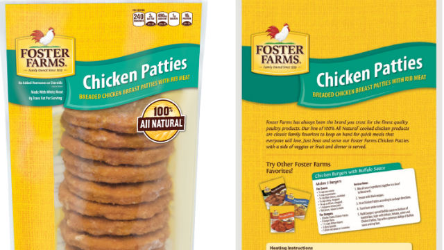 Front and back packaging for the recalled product. Courtesy Foster Farms