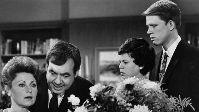 """The """"Happy Days"""" family. From left, Pictured are Marion Ross, Tom Bosley, Erin Moran and Ron Howard."""
