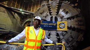 Retirement of Harriet the tunnel machine. Photo via L.A Metro