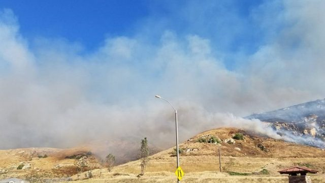 The Opera Fire burning in Riverside County's Highgrove area, April 30, 2017. Photo: Riverside County Fire Department/CalFire