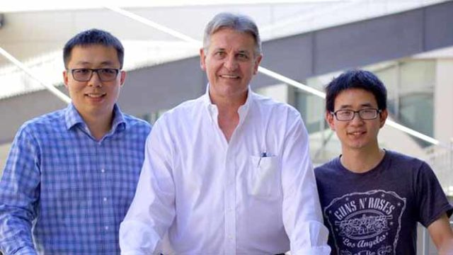 UCLA researchers (from left) Huan Meng, Andre Nel and Xiangsheng Liu. Photo via cancer.ucla.ed