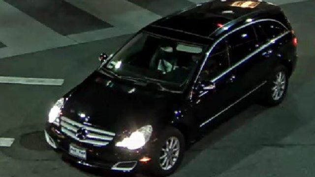 The suspect behind the wheel of the Mercedes-Benz used to commit the alleged vandalism. Photo: Beverly Hills Police Department