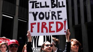 Demonstrators protest calling for the firing of Fox News Channel TV anchor Bill O'Reilly outside the News Corporation headquarters in New York City, New York, U.S., April 18, 2017. Photo by Mike Segar via Reuters