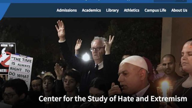 Image from homepage of CSUSB Center on Hate and Extremism.