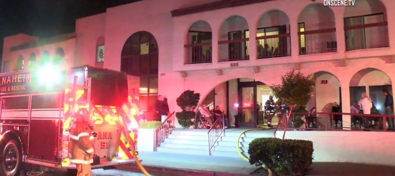 One person suffered injuries related to smoke inhalation in a fire that broke out in an assisted living facility in Anaheim. Photo via OnScene.TV.