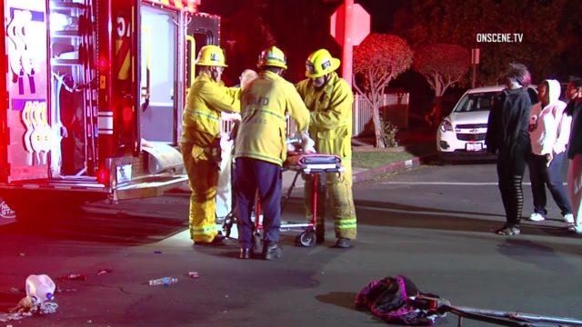 Emergency crews on the scene of a hit-and-run crash that fatally injured a 66-year-old female pedestrian. Photo: OnSceneTV
