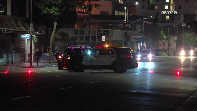 The collision was reported at 12:05 a.m. near the intersection of Sixth Street and Towne Avenue. Photo: OnSceneTV