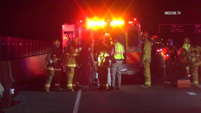 One person was killed early Thursday in a crash on the westbound Ventura (101) Freeway in Encino. Photo via OnScene.TV.
