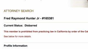 State Bar listing for Fred Raymond Hunter Jr. Image via members.calbar.ca.gov/