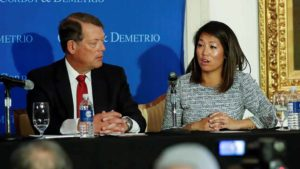 Crystal Dao Pepper, daughter of Dr. David Dao, speaks during a news conference at Union League Club in Chicago. Photo by  Kamil Krzaczynski via Reuters