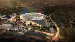 Stadium at Hollywood Park in 2024 Games artist's rendering. Image via LA 2024