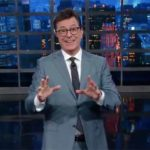"Stephen Colbert celebrates attack by President Trump on ""The Late Show."""