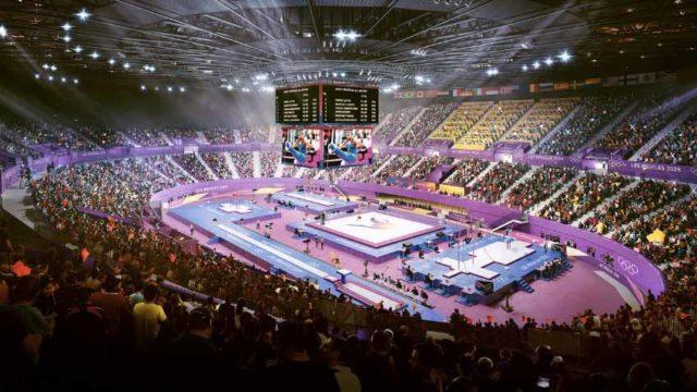 Inglewood Forum as set up for gymnastics in 2024 Games artist's rendering. Image via LA 2024.