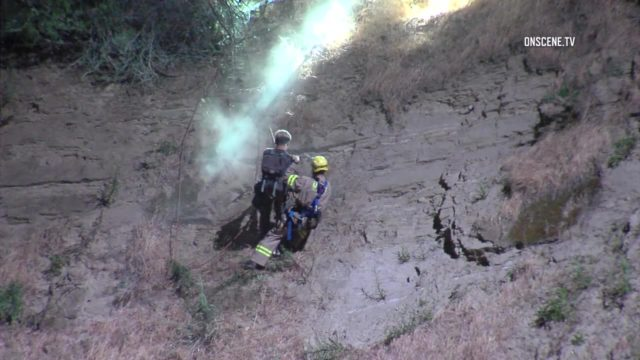 A pair of young hikers were safe at home Friday after being rescued by the Los Angeles Fire Department from a steep hillside in Elysian Park. Photo via OnScene.TV.