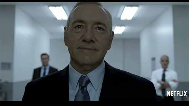 "Kevin Spacey as Frank Underwood in the Netflix series ""House of Cards."""
