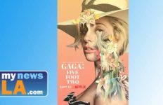 Publicity graphic for Lady Gaga documentary on Netflix.