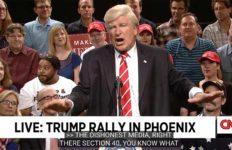 Alec Baldwin impersonates President Trump at Phoenix rally.