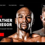 Promotional graphic for Floyd Mayweather vs Conor McGregor bout.