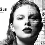 Taylor Swift promotes new album with newspapery graphic.