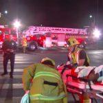 Crash victim on stretcher