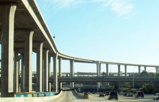 an elevated freeway interchange in Southern California