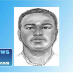 sketch of a murder suspect wanted for the killing of a bank customer in Riverside.