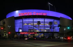 the staples center at night