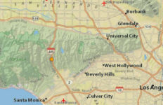 Earthquake location near the 405 freeway