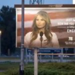 Melania Trump's image used on billboard marketing an English school.
