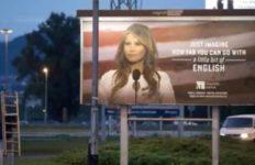 Melania Trump's image used on billboard marketing an English school.