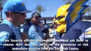 "Dan Jauregui as ""Boltman"" and his interaction with StubHub security at Sept. 24, 2017, Chargers-Chiefs game."