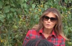 Melania Trump wears $1,380 shirt in visit to Michelle Obama's White House vegetable garden.