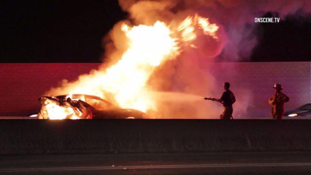 605 freeway fiery crash