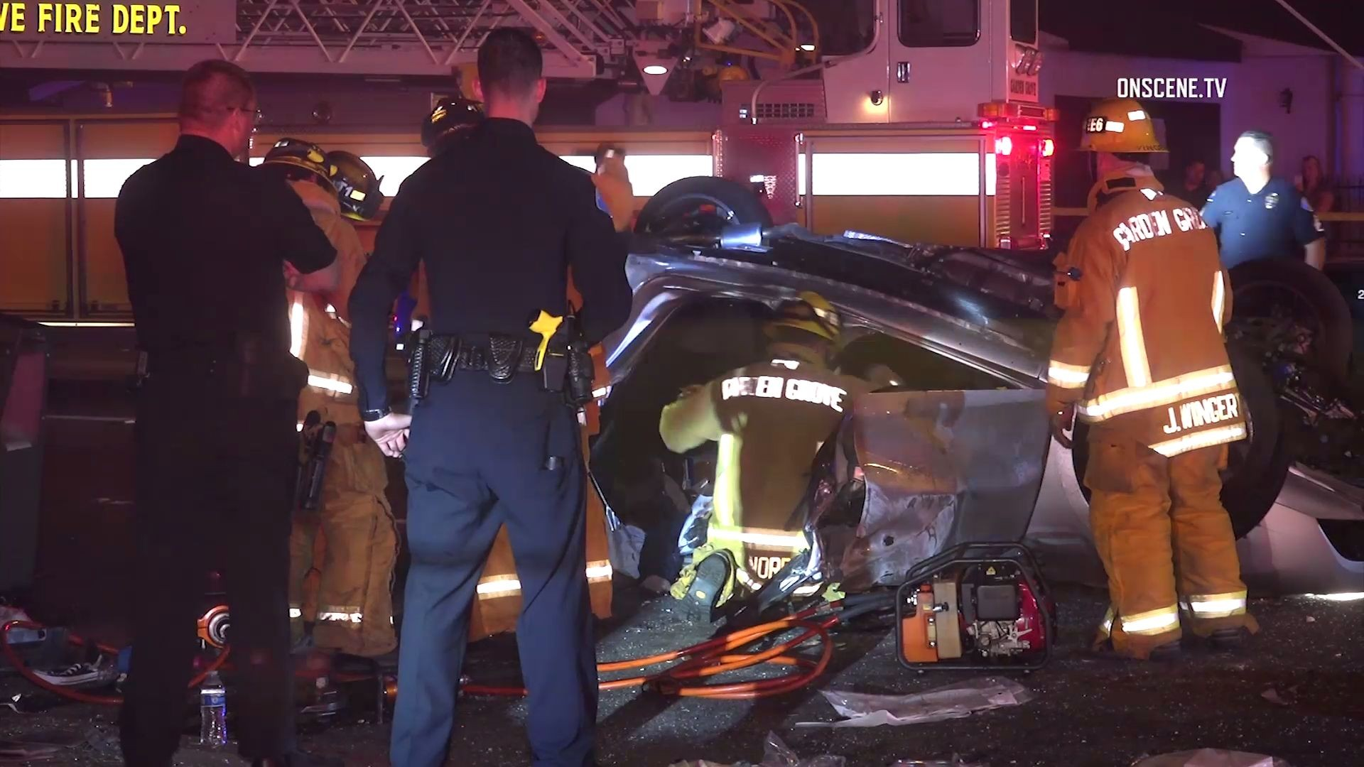 garden grove crash rollover kills motorist but passenger