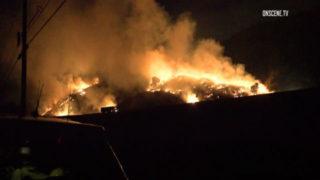 Brush fires burning on hillsides near the 57 Freeway in Brea.