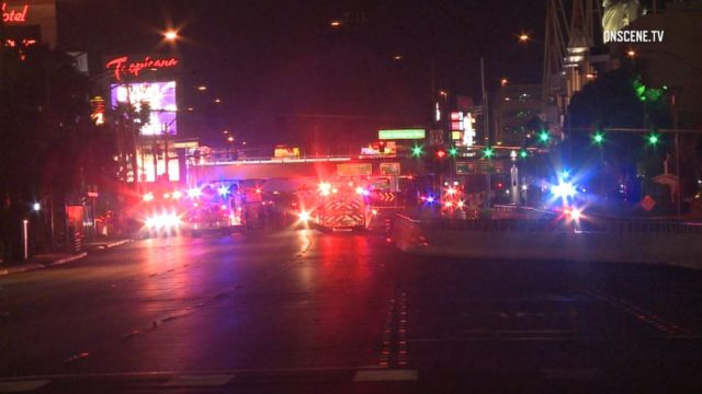 Emergency vehicles on Las Vegas strip