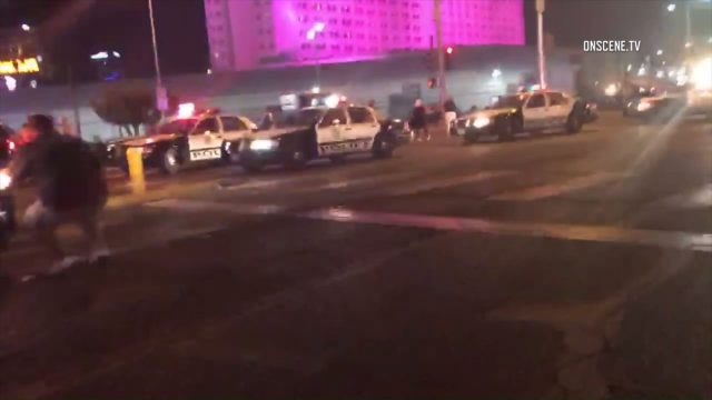 Police cruisers near the shooting