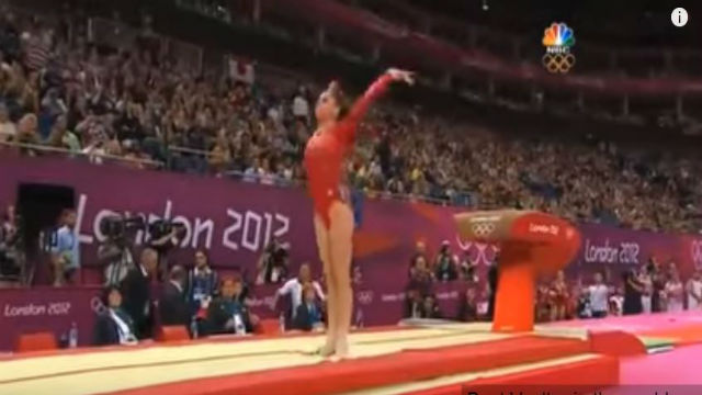 McKayla Moroney after performing a vault in gymnastics competition.