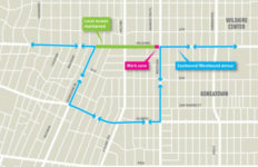 a map showing the area of planned closures for Los Angeles Metro's Purple line extension project.