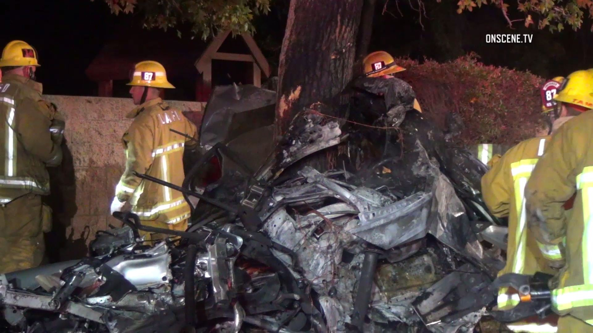 Four Killed, Vehicle Split in Two in Fiery Crash
