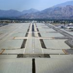 An aerial view of a Palm Springs International Airport.