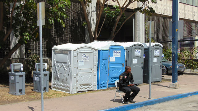 Portable toilets in downtown San Diego