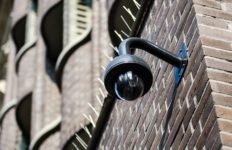 A CCTV camera attached to a building.