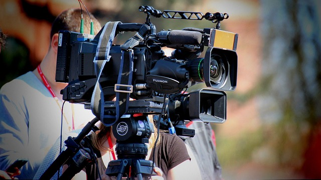 A film/TV camera during filming.