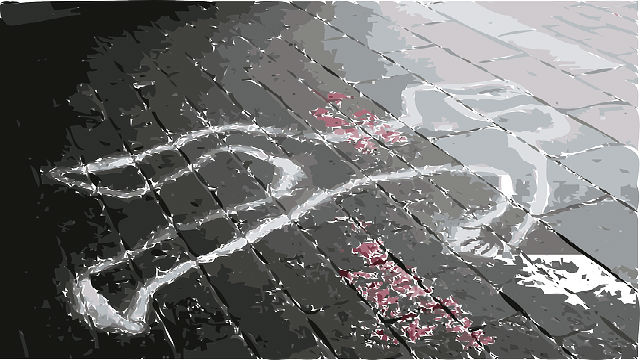 An example of a crime scene chalk outline on a street.